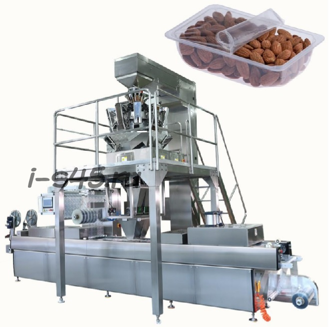 термоформовочная вакуумная упаковочная машина с весовым дозатором для упаковки мелкокусочных продуктов