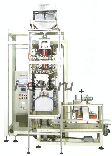 Вертикальная вакуумная фасовочно-упаковочная машина для фасовки и упаковки сыпучих продуктов в трехшовные пакеты (Италия).